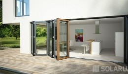 Glas-Faltwand Holz/Aluminium