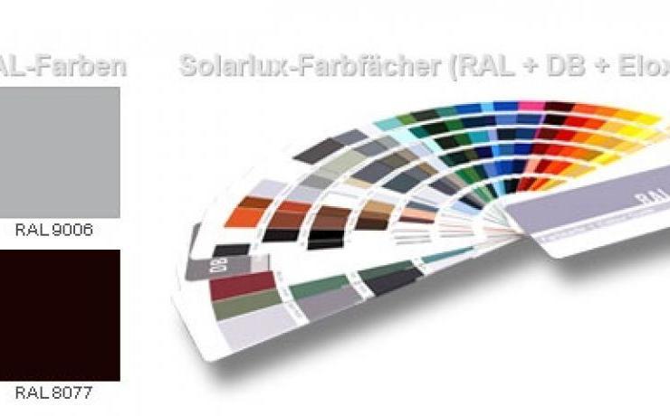 Wählen Sie zwischen Standard RAL-Farben und einer Vielzahl weiterer Farben aus dem Solarlux-Farbfächer.